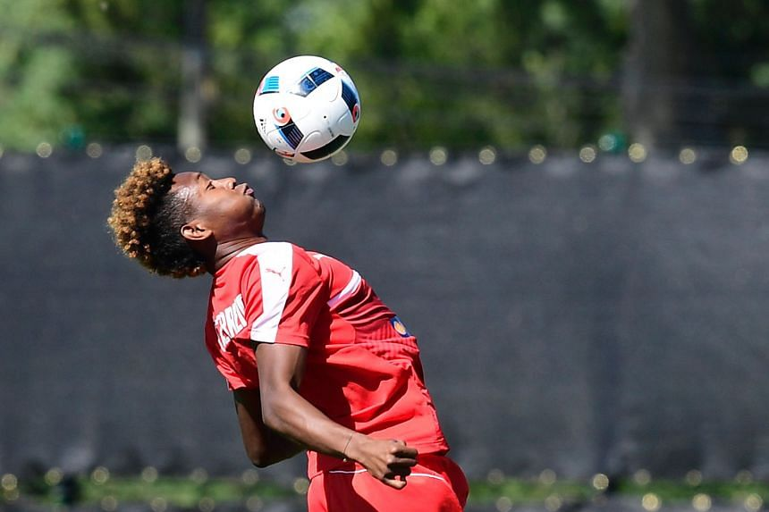 Austria's midfielder David Alaba during a training session in Mallemort, southern France, on June 9. The last time Austria and Hungary met at a major tournament was in the quarter-finals of the 1934 World Cup, when Austria won 2-1.
