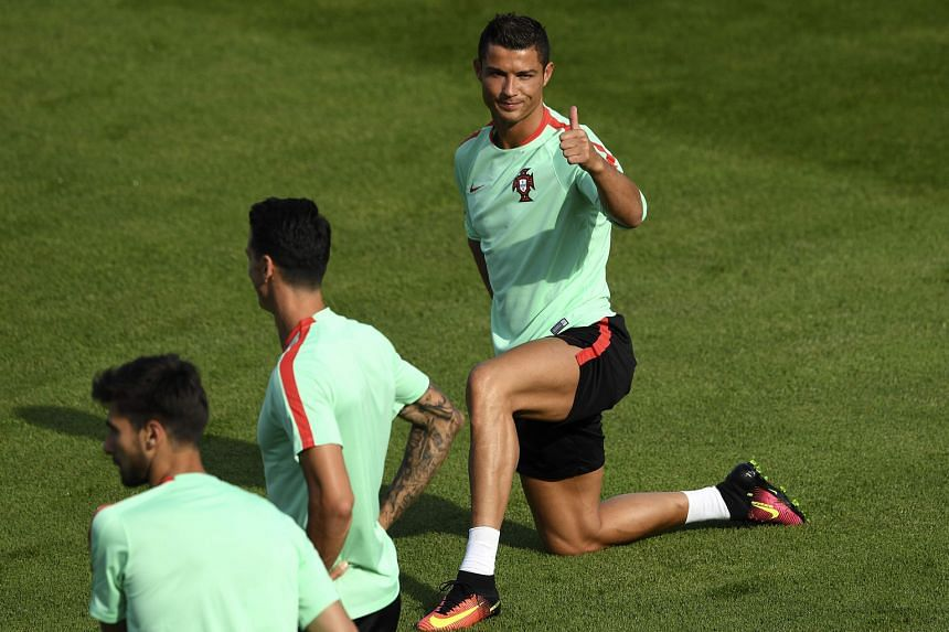 Portugal skipper Cristiano Ronaldo feeling the good vibes during training. His team lost to champions Spain four years ago in the semi-finals.