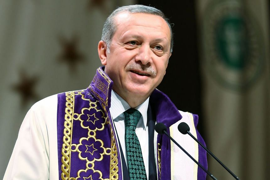 Mr Erdogan speaking after receiving an honorary doctorate from the Kocaeli University in Kocaeli, Turkey, on May 13. Turkish laws require the President to have completed and passed a full four-year university degree course in order to hold the office
