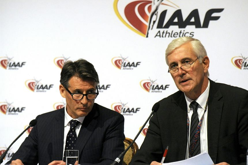 IAAF president Sebastian Coe (left) and Rune Andersen, who heads the IAAF task force overseeing Russia's attempts to reform, at the press conference in Vienna on Friday, where the governing body voted unanimously to extend the ban.
