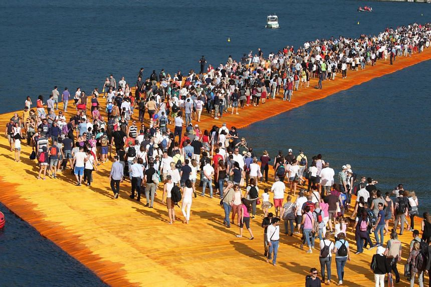 Bulgarian-born American artist Christo's Floating Piers walkway on Lake Iseo in Italy.