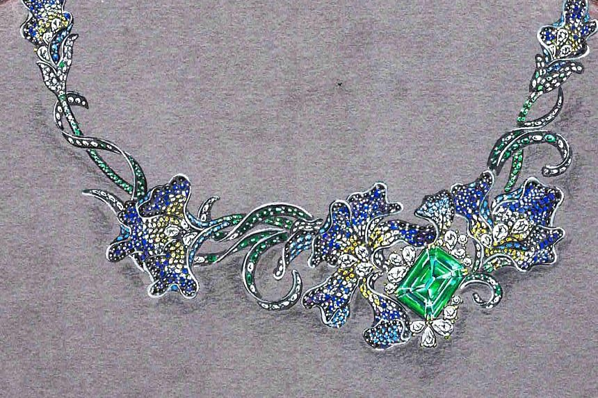 Highlights of the Singapore JewelFest include a necklace (left) featuring a 13.73-carat Afghan emerald with sapphires, tsavorites and diamonds, and the Monarch Mirabella ring (below), which features a 4.9-carat green diamond surrounded by 1.7-carat p