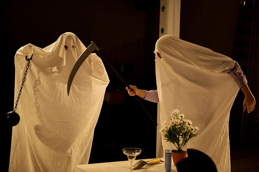 A scene from the theatre production Ibsen: Ghosts, which deals with assisted suicide.