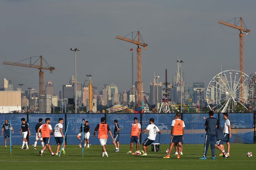 Argentina's players train ahead of the Copa America Centenario final against Chile in East Rutherford, New Jersey. They are intent on avenging last year's penalties defeat to the same opponents.