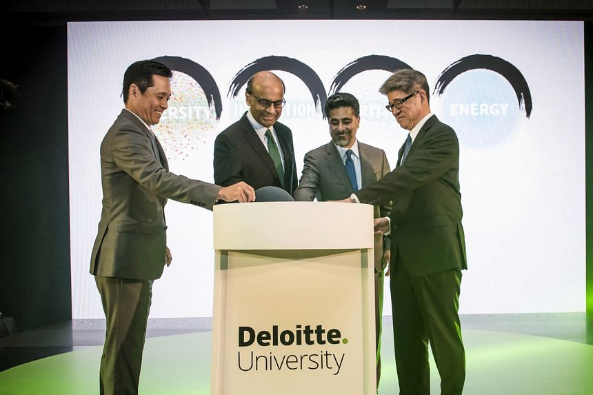 At the opening ceremony of Deloitte University Asia Pacific in Sentosa yesterday were (from left) Deloitte University Asia Pacific dean Ko Asami, Mr Tharman, Mr Renjen and Deloitte Asia Pacific regional managing director and Deloitte Japan chief exec