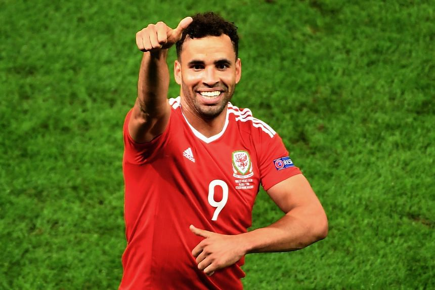 Hal Robson-Kanu of Wales celebrates after putting Wales in front during the 3-1 Euro quarter-final win over Belgium.