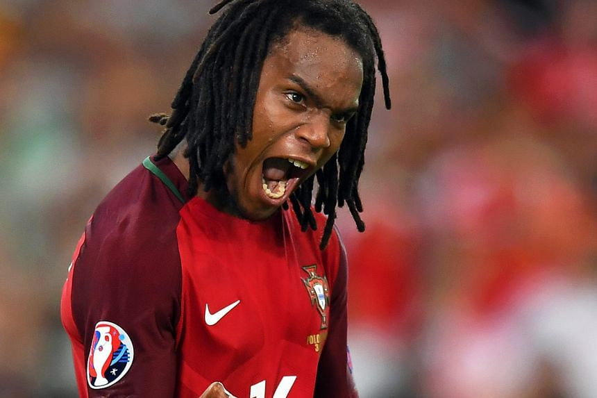 Renato Sanches roars in delight after converting his spot kick for Portugal during their penalty shoot-out win over Poland. His muscular physique has led to persistent questions on whether he is just 18 years old.