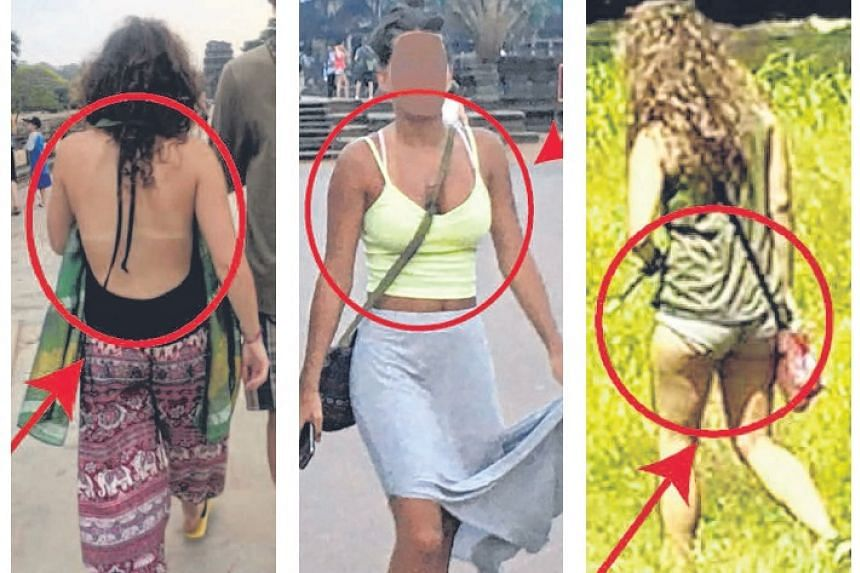 Photos on Cambodia's Apsara Authority website show tourists in skimpy clothes at the Angkor Archaeological Park.