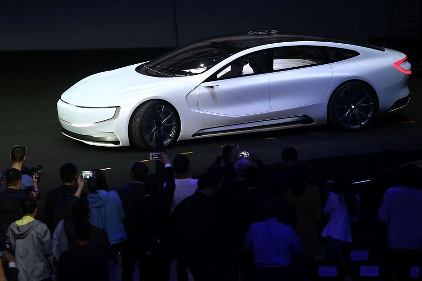 "The Internet electric battery driverless concept car ""LeSEE"" was launched at an event in Beijing in April."