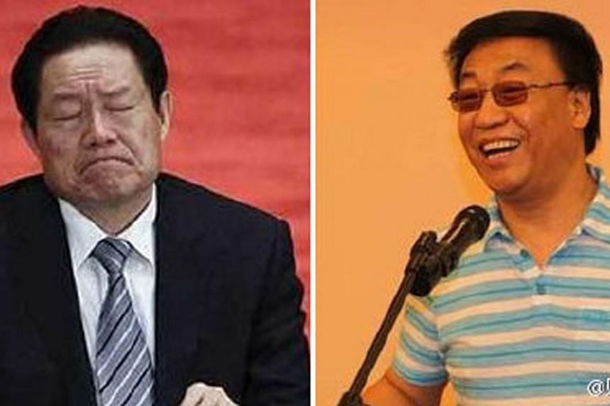 Fortune-teller Cao Yongzheng (right), had provided testimony against disgraced former public security chief Zhou Yongkang (left) at his closed-door trial last year. Cao had a following among China's celebrities and ruling elite.