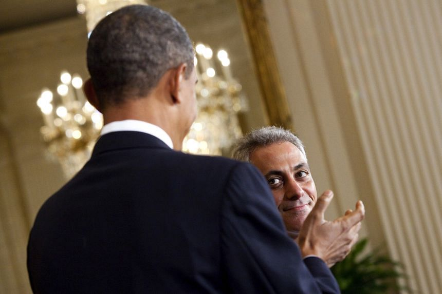 Mr Obama with then chief of staff Rahm Emanuel in 2010. Mr Emanuel has spent many a late night working with the President in his office.