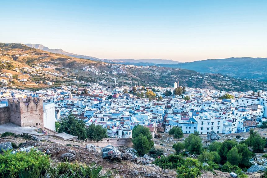 The mountain town of Chefchaouen in Morocco, which is famous for its blue buildings, is about a 11/2-hour drive from Banyan Tree Tamouda Bay resort.