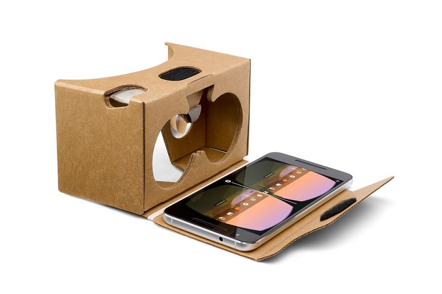 Slot your smartphone into the back, turn on a video with a 360-degree function and peer through the lenses to be immersed in virtual reality.