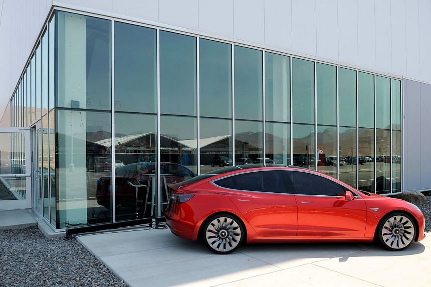 Tesla's Model 3 outside the Gigafactory in Nevada, which officially opened on Tuesday.