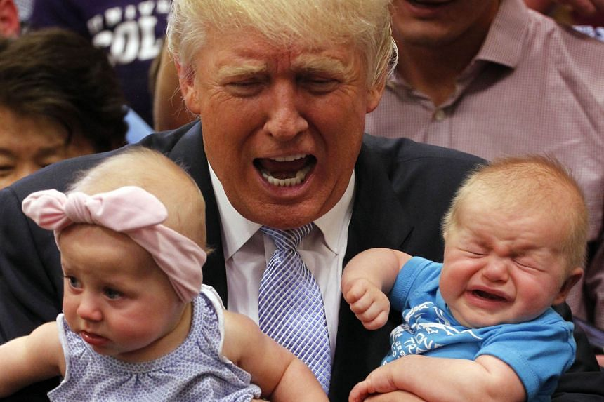 Mr Trump, seen here with two young rally attendees in Colorado Springs, Colorado, last Friday, may have something to cry about with a disapproval rating of 57 per cent going by recent averages. But that is just above Mrs Clinton's 55 per cent. When i