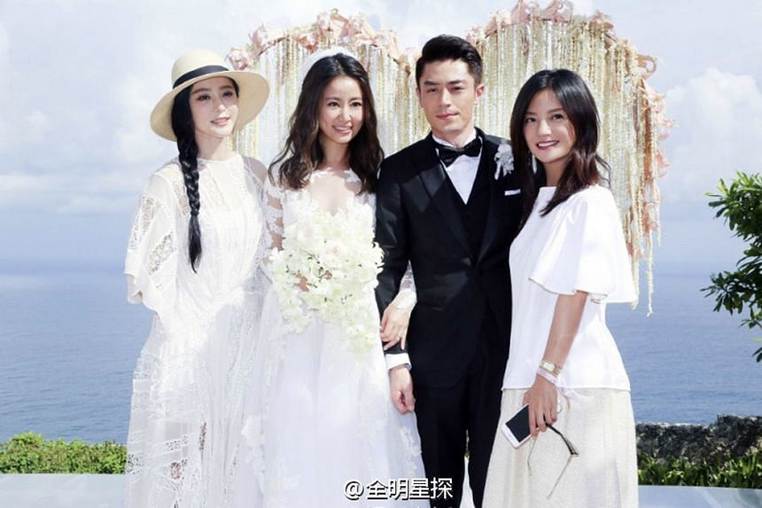 Married couple Ruby Lin and Wallace Huo (centre) were joined by actresses Fan Bingbing (left) and Vicki Zhao (right) at their Bali wedding.