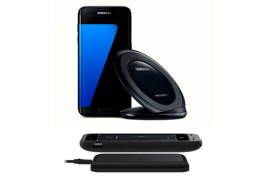 Samsung's a Qi-based Fast Wireless Charger (top) is said to charge faster than the Korean firm's original wireless charger. Mophie's charger (above) can add more than 50 per cent battery life to the iPhone.