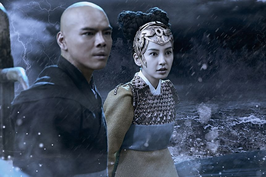 Rising star Jacky Heung and actress Angelababy, who plays his love interest, in fantasy action film League Of Gods.