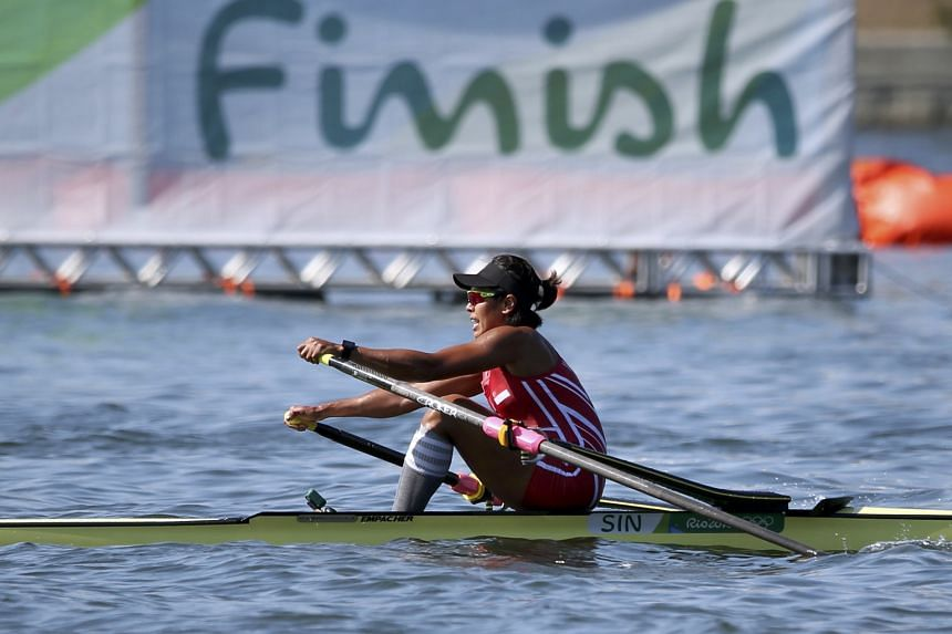 Singapore rower Saiyidah Aisyah competing in the singles sculls yesterday. Her time of 8min 44.71sec allowed her to place third in her heat and qualify for the quarter- finals on Tuesday.
