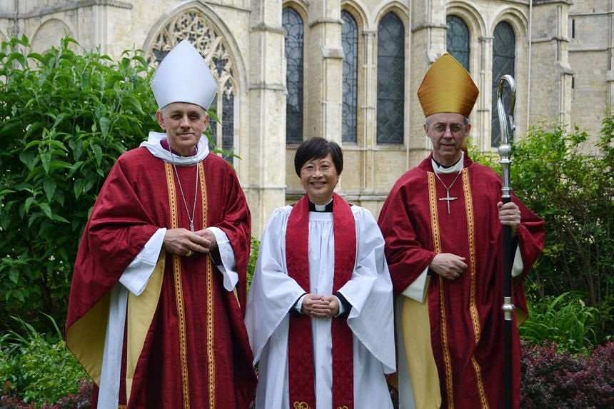 Mrs Harrop with the Archbishop of Canterbury Justin Welby (right) and Bishop of Dover Trevor Willmott.