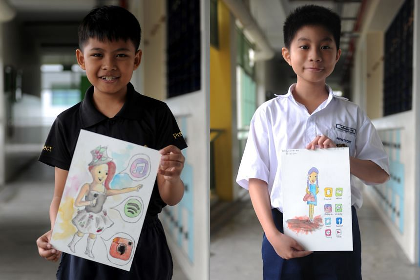 Primary 5 pupils Mohd Syahmi Iman Mohd Shahril (left) and Howard Sim belong to the Picasso's Pals Club at Montfort Junior School. They matched sketches of locals with the apps they thought would be the most apt for the characters' lifestyles.