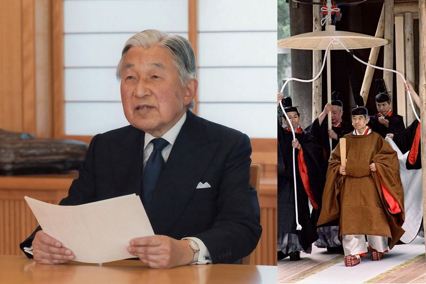 The 82-year-old Emperor Akihito addressing the nation (far left) yesterday. The Emperor (left) in 1990 during one of his final enthronement ceremonies.