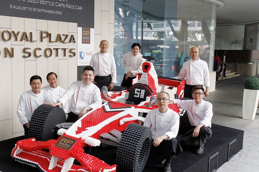 Here's a Formula One car that will always come out tops. The Royal Plaza on Scotts hotel unveiled earlier this week the world's first life-sized race car made out of bottle caps - more than 20,000 in total. To celebrate Singapore's ninth year as a Gr