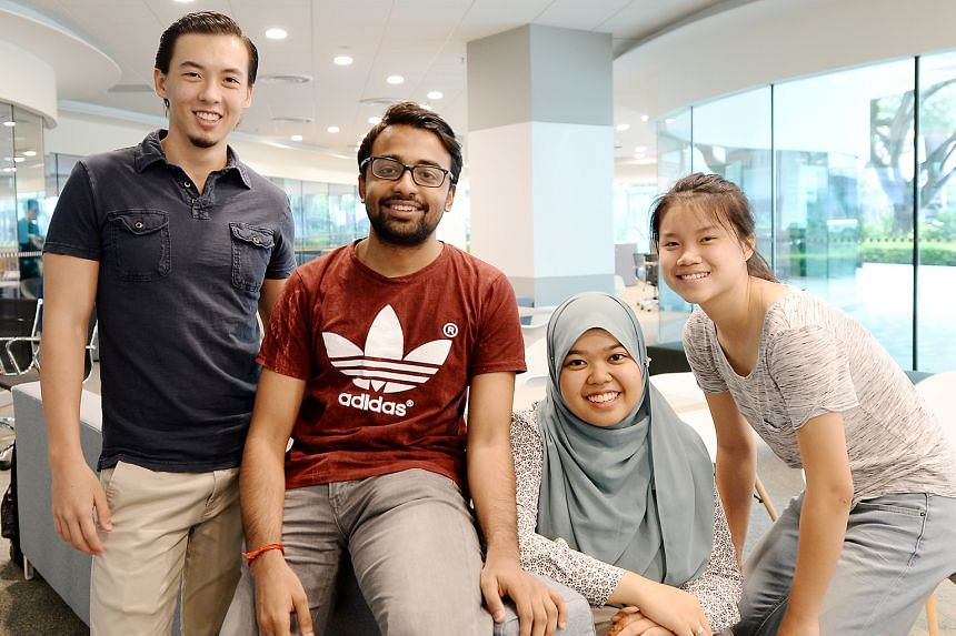 With the new study lounges and other interactive spaces, working together to get projects done will be a lot easier for SMU students (from left) Elliot Braet, Subramaniam Narayanan, Nur Dini Haziqah Mohd Sukri and Clarabelle Koh Pei Lin, who have sig