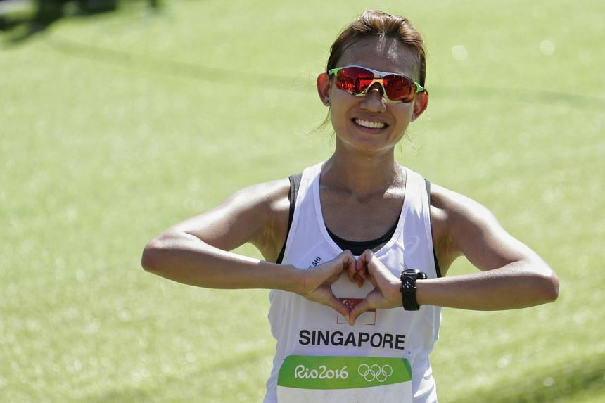 A happy Neo Jie Shi at the end of the marathon at the Sambodromo last Sunday, despite beating only two other finishers.