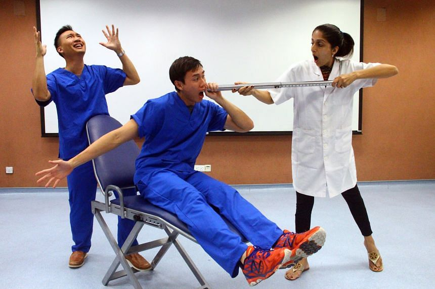 Real dentists (from left) Jeremy Sim, 25, Alvin Lee, 35, and Mehek Kalra, 34, are among National University of Singapore dentistry graduates who will be performing at Oral Humour - The Show With Bite.