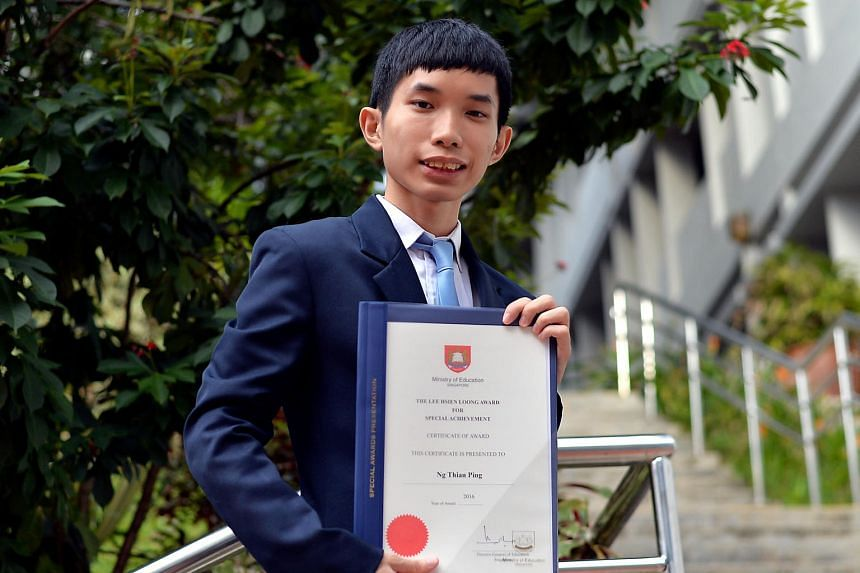 Ng Thian Ping from Assumption Pathway School received the Lee Hsien Loong Award for Special Achievement yesterday. The award honours one outstanding student each from NorthLight School and APS.