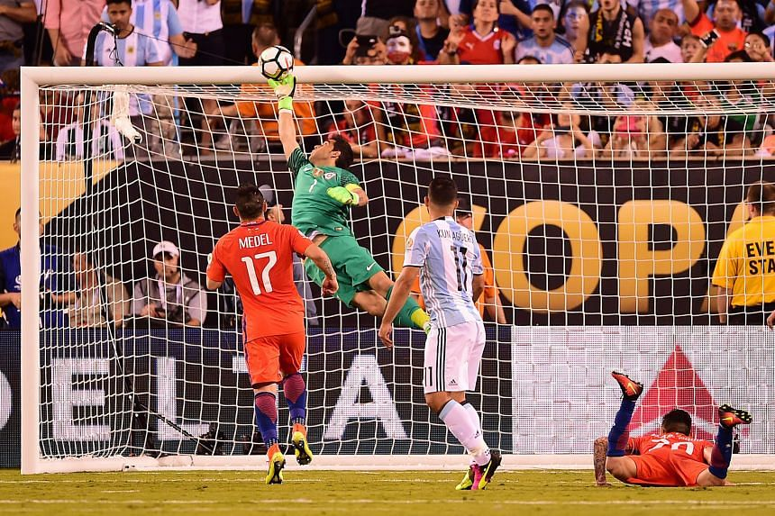 """Claudio Bravo pulling off a save for Chile during the Copa America Centenario final in June. """"He has experience, anticipates situations not in the box, in front of the box, good in the build-up plays, quick under the posts,"""" said Manchester City mana"""