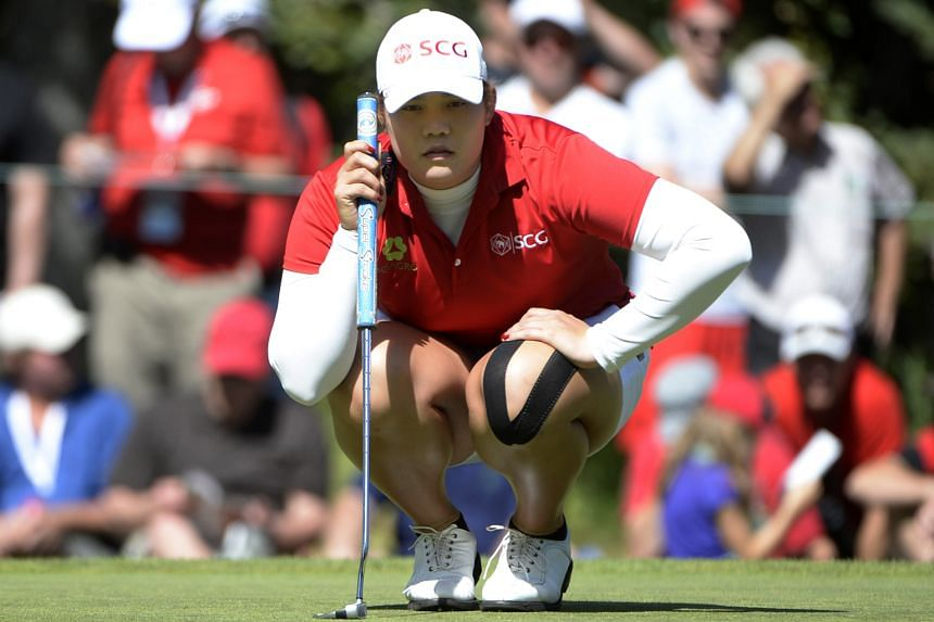 Ariya Jutanugarn lining up her putt on the eighth green during the second round of the Canadian Open. She leads the event by three shots.