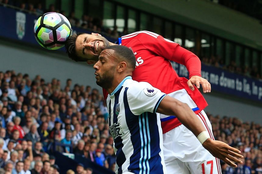 Middlesbrough defender Antonio Barragan winning a header from West Bromwich Albion midfielder Matt Phillips during the 0-0 English Premier League draw at The Hawthorns Stadium yesterday.