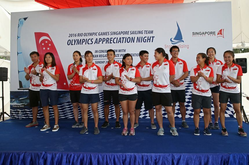(From left) At the Singapore Sailing team Olympics appreciation night yesterday were Chua Tan Ching (high performance and team manager), Soh Ling Ying (assistant manager), Sara Tan, Jovina Choo, Leonard Ong, Griselda Khng, Justin Liu, Elizabeth Yin,