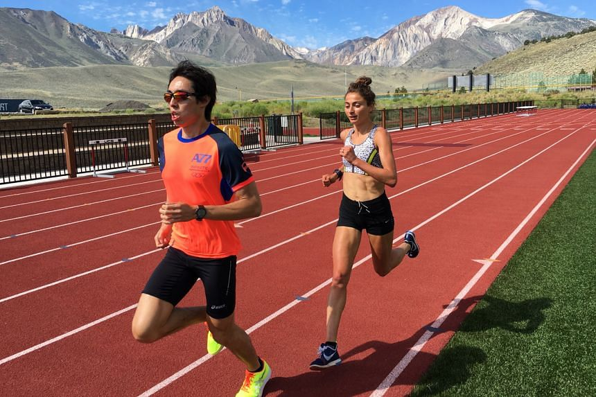 Soh Rui Yong pounding the track with his training partner Alexi Pappas. Despite being unable to find a cure for tissue inflammation affecting his left foot, Soh will run the Chicago Marathon on Oct 9.