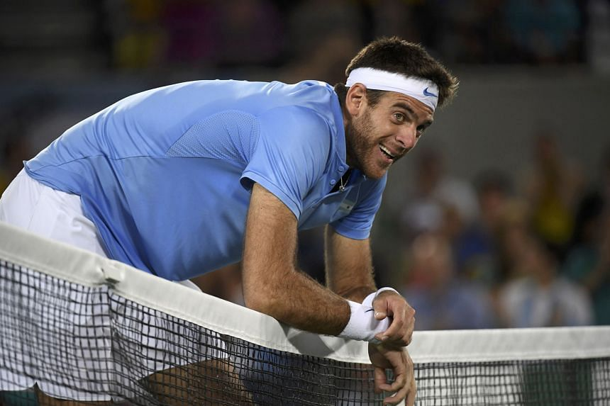 Juan Martin del Potro, who made a dramatic comeback to the game this year after a series of injuries that saw him plummet out of the top 1,000, shows the strain of the four-set loss to Andy Murray in the men's singles final at the Rio Olympics. Del P