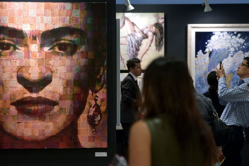 Artworks on display at the Affordable Art Fair last year.
