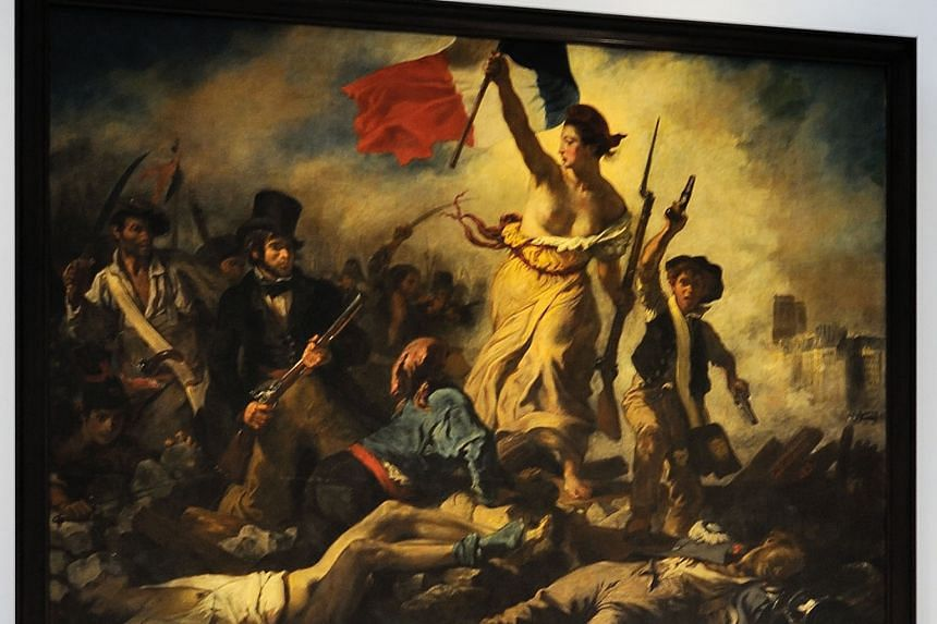 Historian Nicolas Lebourg says that French Prime Minister Manuel Valls appears to have confused Marianne, the French national symbol, with this 1830 Eugene Delacroix painting of Liberty Leading The People, where the figure has her breasts uncovered.