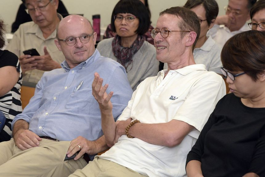 Big Read Meet regulars Hans Schniewind (far left) and Jean-Michel Bardin say Singaporeans are lucky as train breakdowns are part and parcel of life in most other countries.