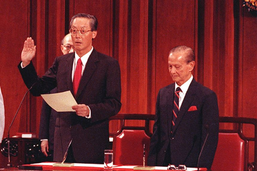 Mr Goh Chok Tong being sworn in as Singapore's second prime minister by then President Wee Kim Wee at a ceremony in a City Hall chamber on Nov 28, 1990. It was the same one where Mr Lee Kuan Yew took his oath in 1959. PM Lee Hsien Loong being sworn i