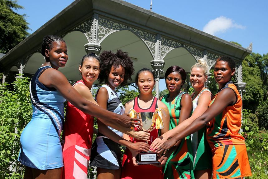 The leaders of the five netball national teams participating in this week's Mission Foods Nations Cup took time off training for a photo shoot at the Singapore Botanical Gardens yesterday morning: (from left) Botswana vice-captain Ntebogang Motlakale