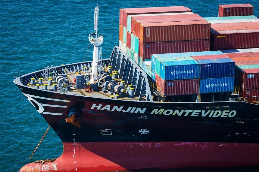 A Hanjin Shipping vessel sitting anchored near the Port of Long Beach in California on Sunday. International Transportation Service, a container terminal at the Port of Long Beach, no longer accepts beleaguered Hanjin's containers, according to its w