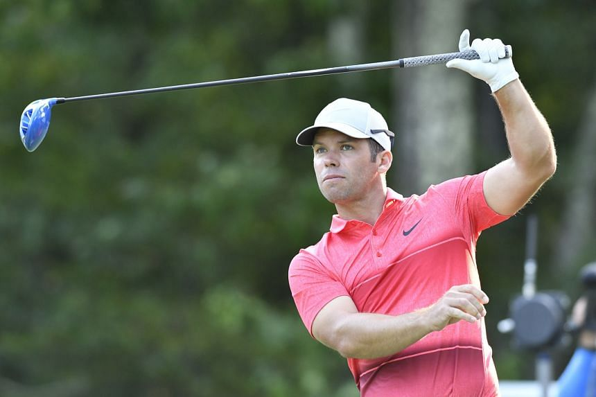 Paul Casey watches his tee shot on the 18th hole during the third round of the 2016 Deutsche Bank Championship at TPC Boston on Sunday. The US-based British golfer, aiming for his second PGA Tour title, led by three shots after starting the day secon