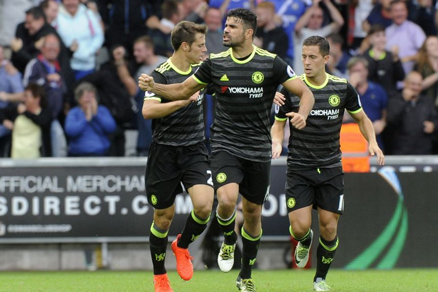 Chelsea's Diego Costa (front) celebrating after his bicycle kick levelled the scores at 2-2 in the 81st minute yesterday.