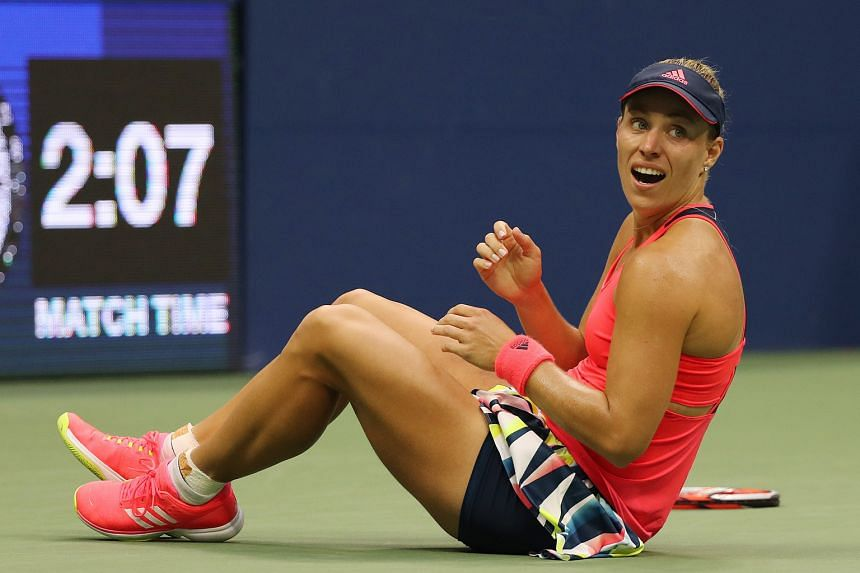 German Angelique Kerber falls to the ground after defeating Czech Karolina Pliskova 6-3, 4-6, 6-4 in the US Open final on Saturday. Kerber showed that she is a fighter, coming back from a break down at 1-3 in the deciding set to win her second Major
