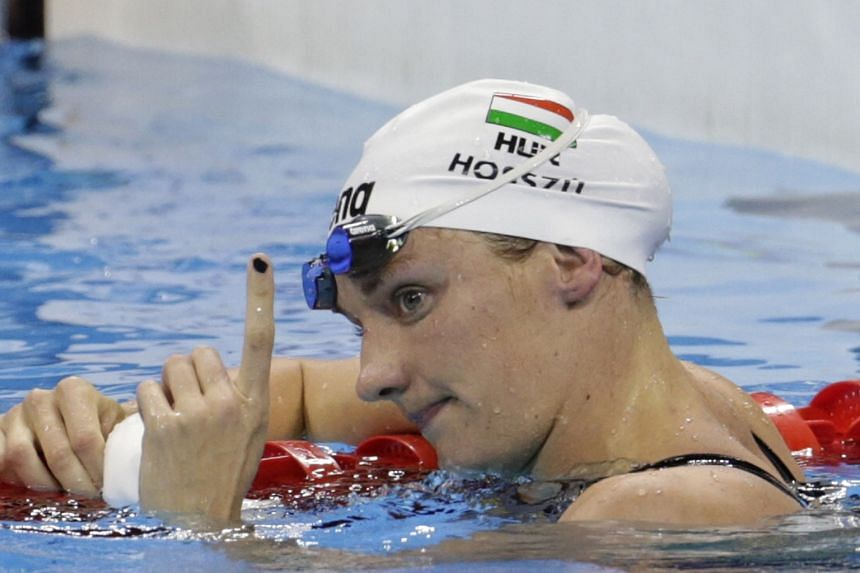 Katinka Hosszu of Hungary gesturing after breaking the Olympic record in the 200m individual medley heats in Rio de Janeiro last month.