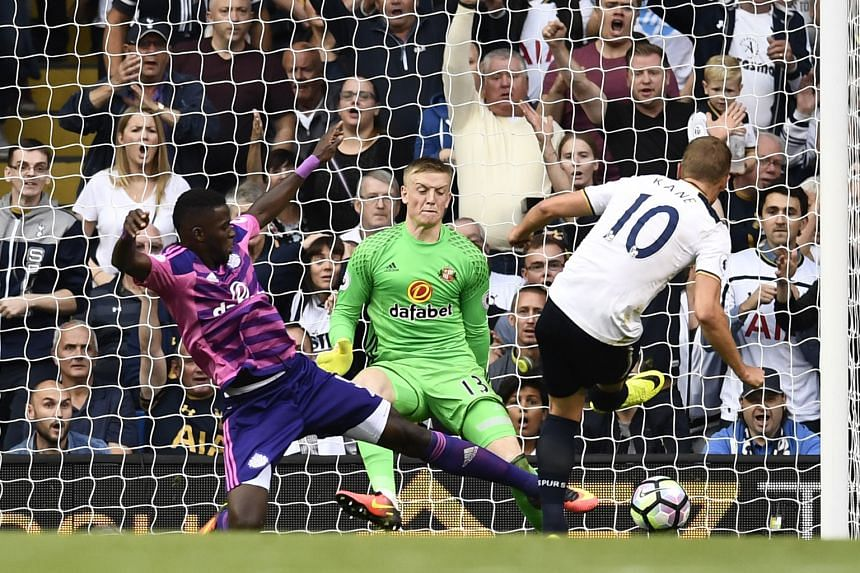 Tottenham's Harry Kane scoring the only goal of the match against Sunderland in the English Premier League on Sunday. The striker later suffered an ankle injury and had to be stretchered off the pitch.