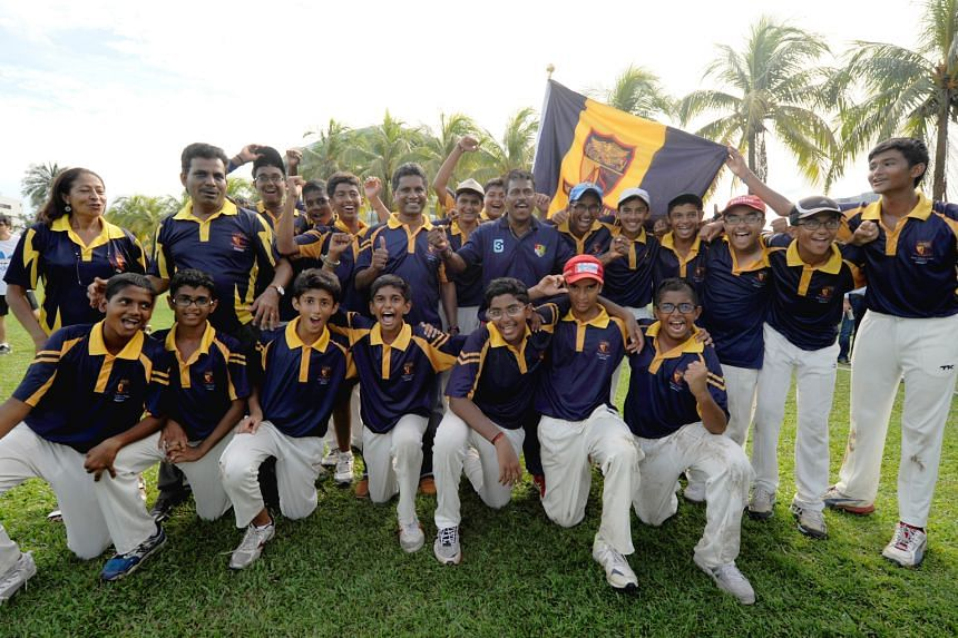 Clockwise from left: The ACS(I) C Division rugby team after defeating St Andrew's Secondary School 22-17 last month; the tennis team after winning the A Division title in May; the C Division cricketers after their victory in July; and the school's sw