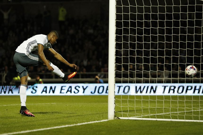 Marcus Rashford scoring the third goal in Manchester United's 3-1 win against third-tier Northampton Town in their League Cup encounter on Wednesday. The victory ended United's run of three successive losses, but Jose Mourinho's side must now face Pe
